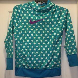 Nike Girls XL polka dot blue hoodie
